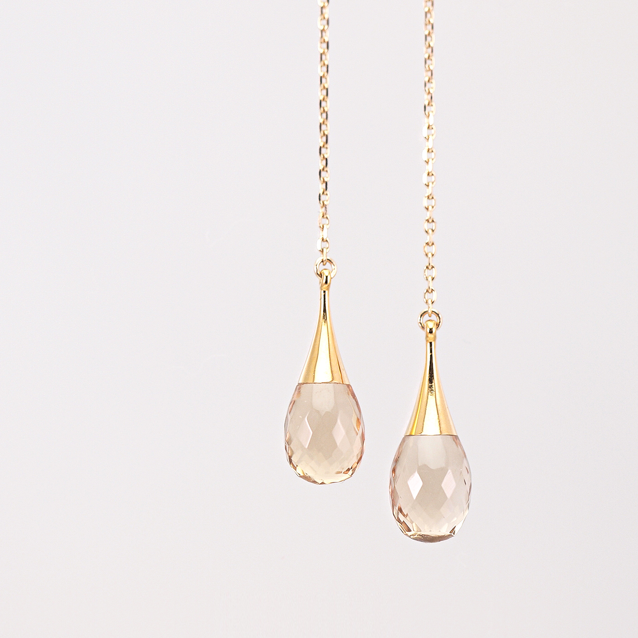Drop american earrings / Champagne quartz