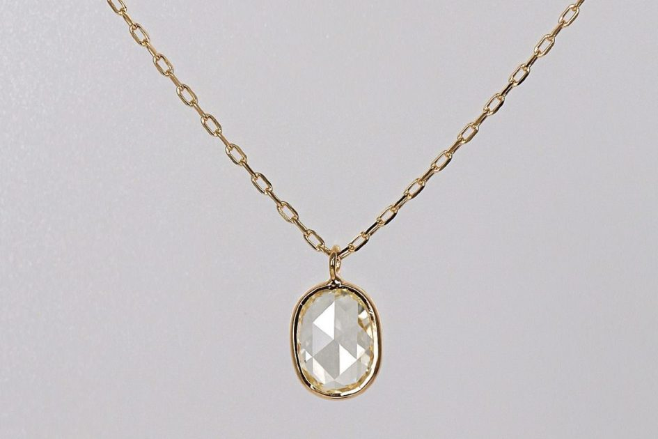 K18 Rosecut Diamond Necklace / Oval